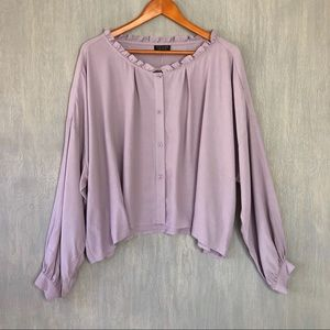 NWT Topshop oversized cropped button down 10